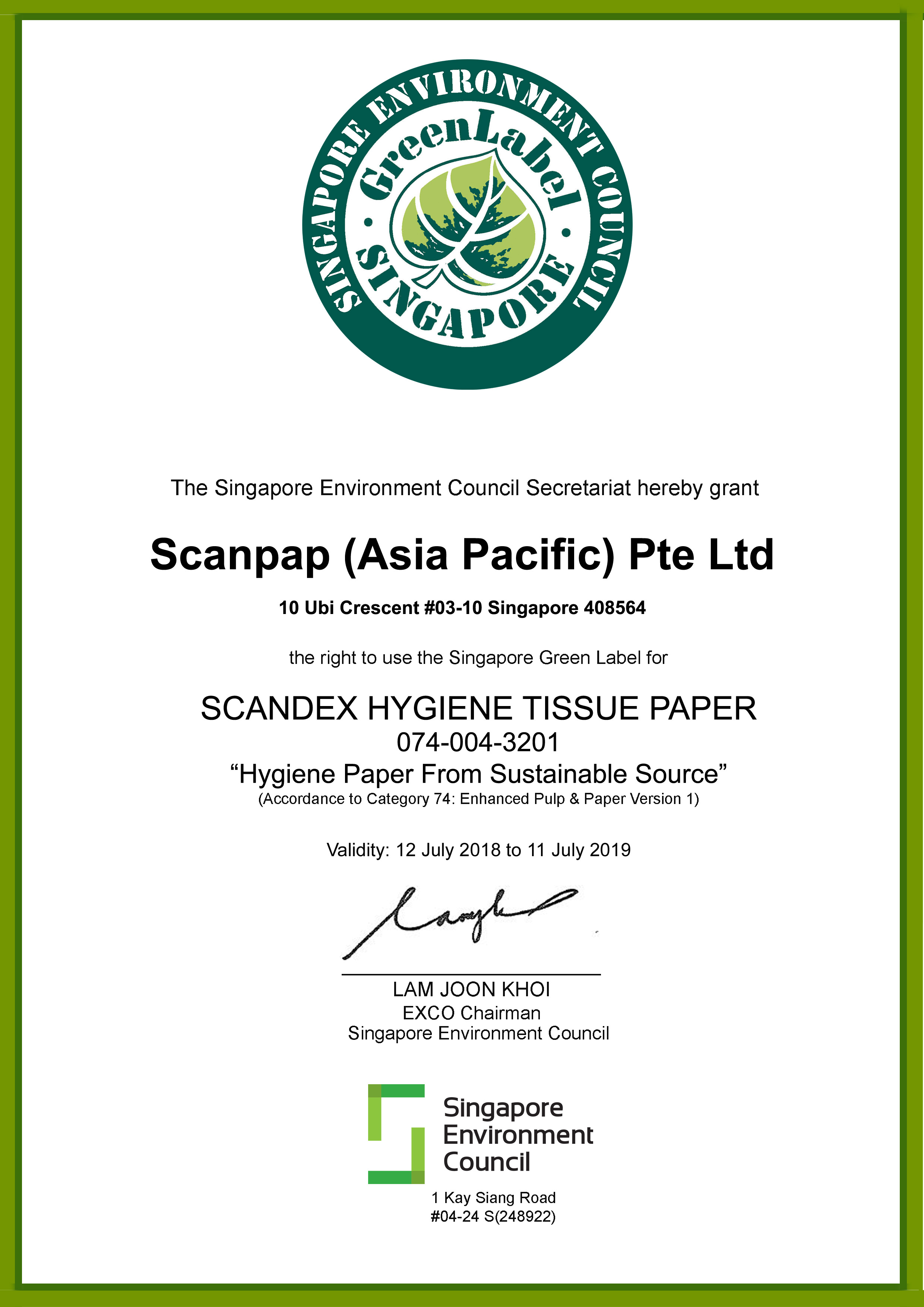 Singapore Enhanced Green Label Certificate